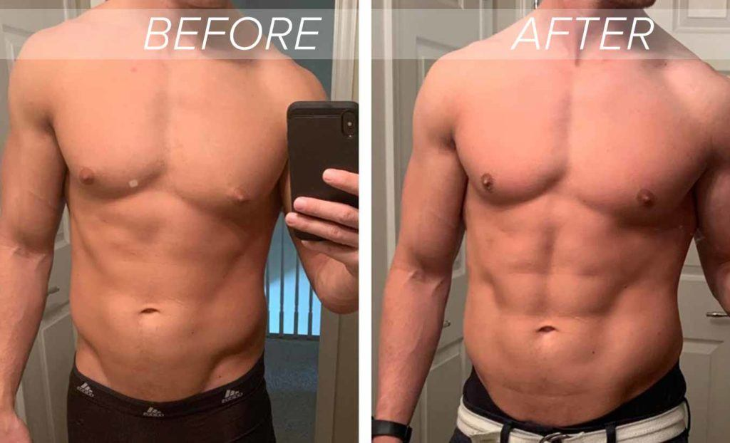 man taking before and after photo selfies showing results from gynecomastia surgery